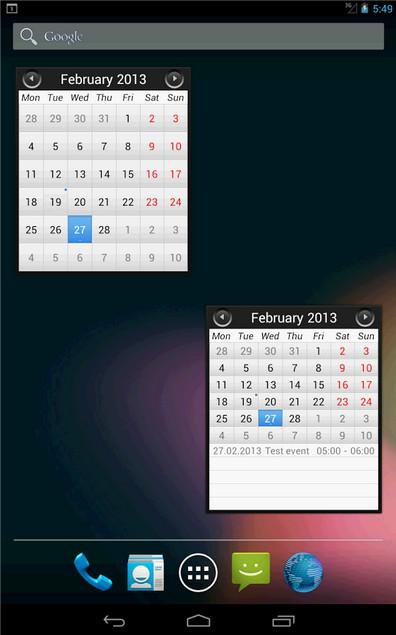Простой календарь виджет