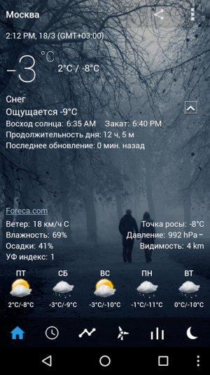 Прозрачные часы и погода